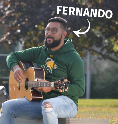 Fernando, music therapy Major & Transfer Student, on campus